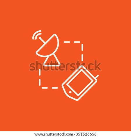 Navigator and satellite dish line icon for web, mobile and infographics. Vector white icon isolated on red background. - stock vector