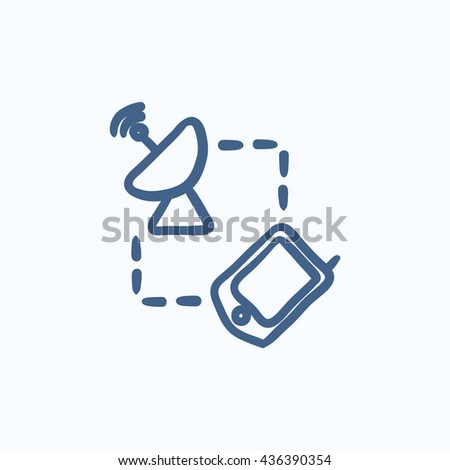 Navigator and satellite dish vector sketch icon isolated on background. Hand drawn Navigator and satellite dish icon. Navigator and satellite dish sketch icon for infographic, website or app. - stock vector