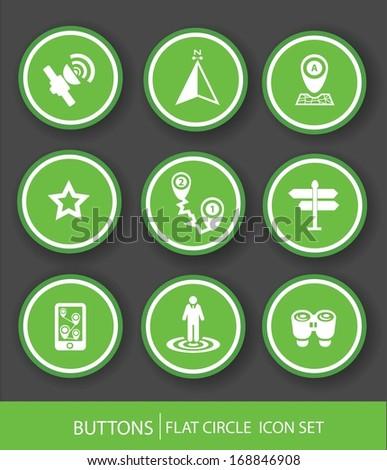 Navigator icons,Green version,vector - stock vector