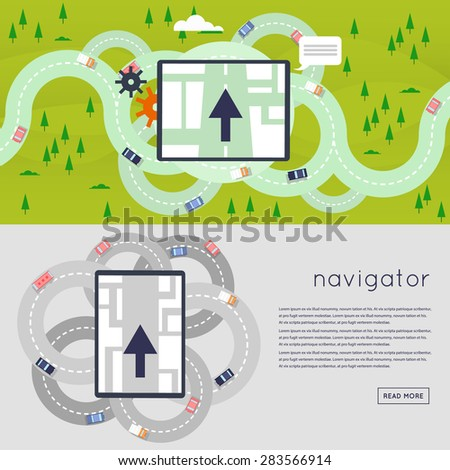 Navigator indicating the direction of movement to a predetermined place. Ring Roads. GPS navigation system. Flat design vector illustration. - stock vector