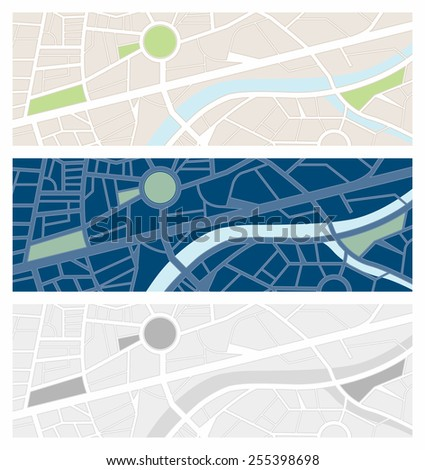 Navigator maps banner set with night vision and grayscale - stock vector