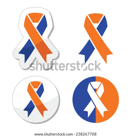Navy blue and orange ribbons - family caregivers awareness icons - stock vector