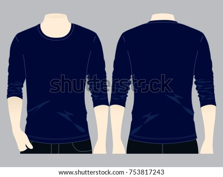 navy blue long sleeve t shirt stock vector 753817243