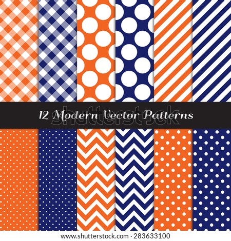 Navy Blue, Orange and White Polka Dots, Gingham, Chevron and Candy Stripes Patterns. Modern Geometric Backgrounds. Vector EPS File Pattern Swatches made with Global Colors. - stock vector