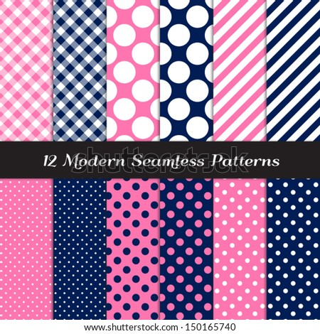 Navy Blue, Pink and White Polka Dot, Gingham and Stripes Patterns. Pattern Swatches included and made with Global Colors - easy to change all patterns in one click. - stock vector