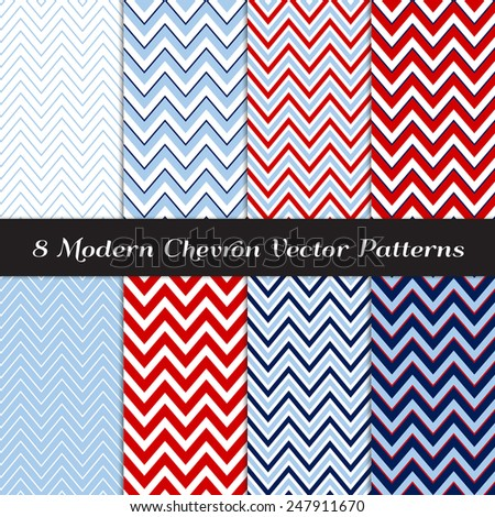 Navy, Blue, Red and White Chevron Patterns. Nautical or Independence Day Backgrounds in Thick and Thin Chevron / Zigzag Stripes.Vector EPS File Contains Pattern Swatches Made with Global Colors. - stock vector