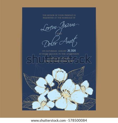 Navy Blue Wedding Invitation Card Beautiful Vector 578273815 – Blue Wedding Invitation Cards