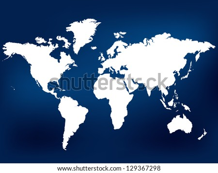 Navy Blue World Map. Vector Illustration. Also see other available colors.