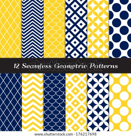 Navy Blue, Yellow and White Retro Geometric Seamless Patterns. Nautical Mod Backgrounds in Jumbo Polka Dot, Diamond Lattice, Scallops, Quatrefoil and Chevron. Pattern Swatches made with Global Colors. - stock vector