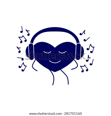 Navy colored dancing heart with closed eyes and headphones on it and many notes around it isolated on white background. Music fan concept. Logo template, design element - stock vector