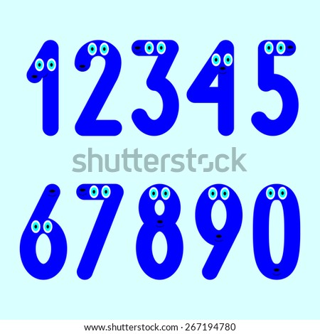 Navy colored numbers with big blue eyes, mouths and noses set isolated on light blue background - stock vector