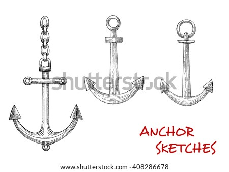 Navy heraldic retro sketches of admiralty marine anchors with attached chains. May be used as maritime mascot, naval symbol or marine sport design - stock vector