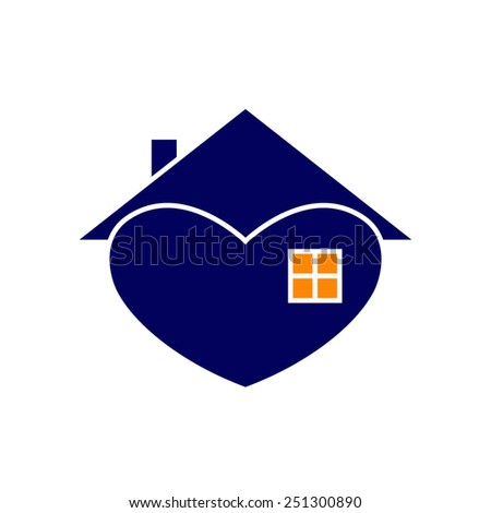 Navy house with white contour in the shape of heart with roof and chimney on it, big window and orange light in it isolated on white background. New house concept. House logo template - stock vector