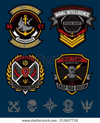 Navy military patch set - stock vector