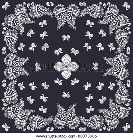 Navy paisley bandana design - stock vector