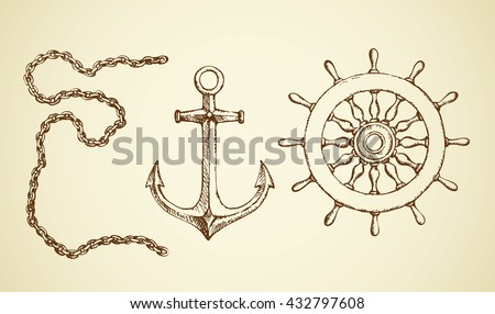 Navy schooner shipswheel, iron anchor, steel heavy attach bond isolated on white background. Freehand outline ink hand drawn picture sign sketch in art scrawl aged style - stock vector