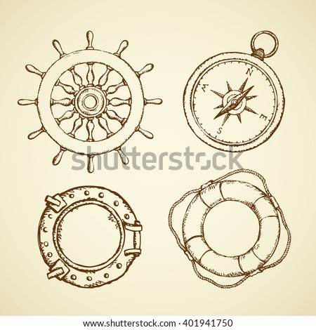 Navy schooner shipswheel, wind rose, frigate scuttle, sos life preserver isolated on white background. Freehand outline ink hand drawn picture sign sketch in art doodle retro style with space for text - stock vector