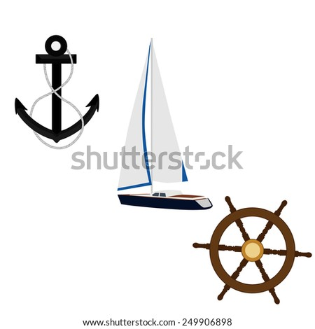 Navy vector icon set- luxury, race yacht, black anchor and ship wheel - stock vector