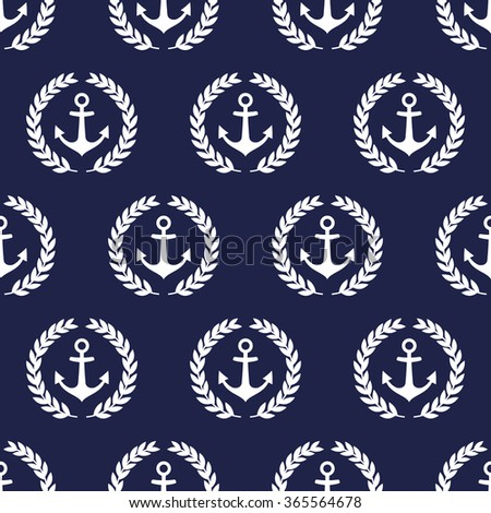 Navy vector seamless patterns with anchor and  laurel wreath. Cute nautical background. - stock vector