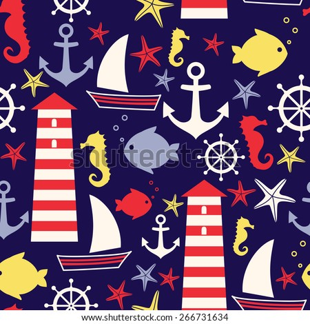 Navy vector seamless sea pattern: sailboat, lighthouse, seagull, fish, anchor, seahorse. Cute nautical background. Marine life Background Collection. Baby shower vector illustration.. - stock vector