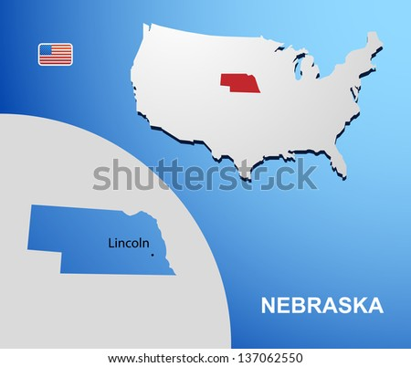 Nebraska on USA map with map of the state