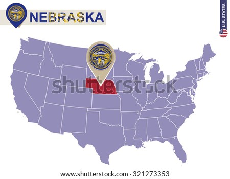 Nebraska State On Usa Map Nebraska Stock Vector - Nebraska on us map