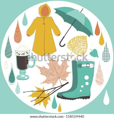 Necessary objects of rainy day - stock vector