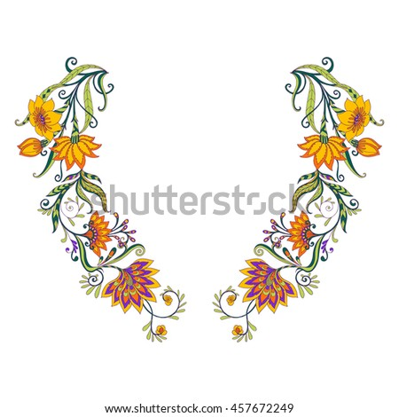 Neck Line Embroidery Designs Middle Ages Stock Vector Hd Royalty
