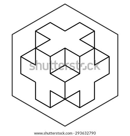 Necker cube icon vector, line drawing, 3d cross logo design, crop circles, sacred geometry - stock vector