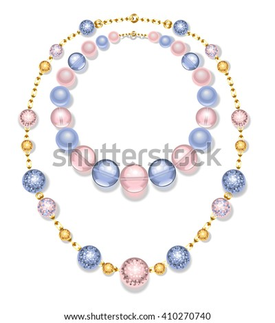 necklace of gold chains and beads fashion, pink and blue on a white background. Rose Quartz and serenity.