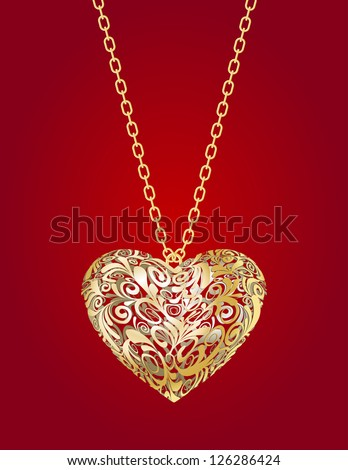 Necklace with golden heart  on a red background - stock vector