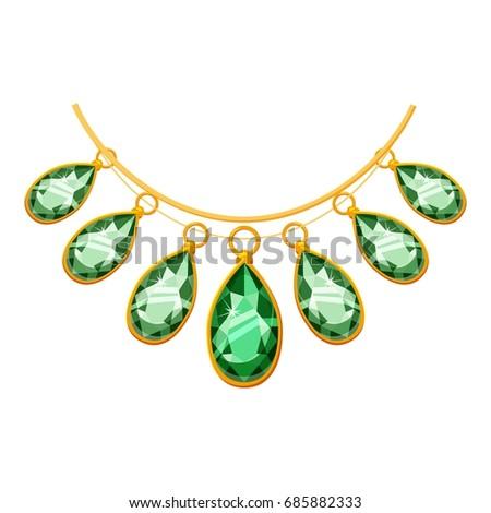 Necklace green pendants icon cartoon illustration stock vector necklace with green pendants icon cartoon illustration of necklace with green pendants vector icon for aloadofball Gallery