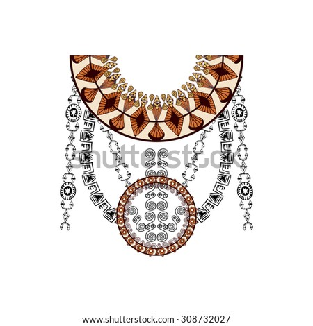 Neckline design in ethnic style for fashion. Aztec neck print. Vector tribal embellishment