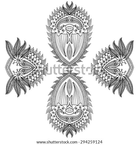 Neckline embroidery design- floral ornamented pattern. Hand draw line art ornate flower design - stock vector