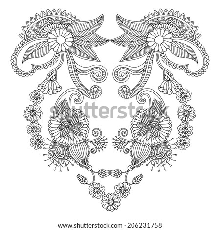 Neckline embroidery pattern  - stock vector