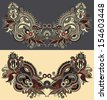 Neckline ornate floral paisley embroidery fashion design, ukrainian ethnic style. Good design for print clothes or shirt - stock