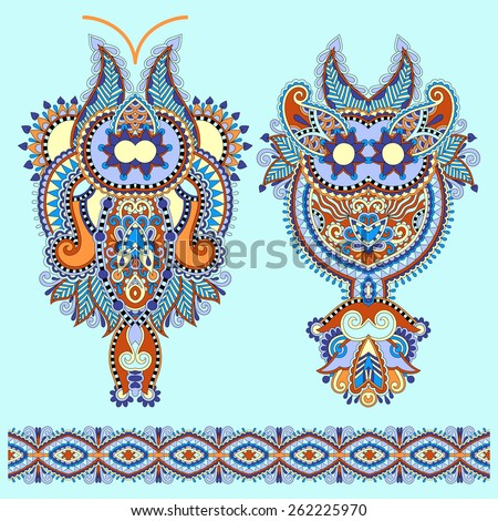 Neckline ornate floral paisley embroidery fashion design, ukrainian ethnic style. Good design for print clothes or shirt. Vector illustration - stock vector