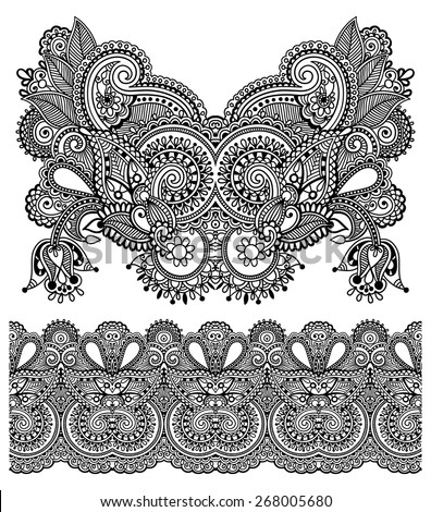 Neckline ornate floral paisley embroidery fashion design, ukrainian ethnic style. Good design for print clothes or shirt. Vector illustration on black color - stock vector