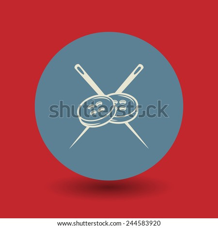 Needle and buttons icon or sign, vector illustration - stock vector