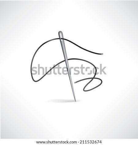 Needle and thread icon. Sewing sign. Needlework symbol button. - stock vector