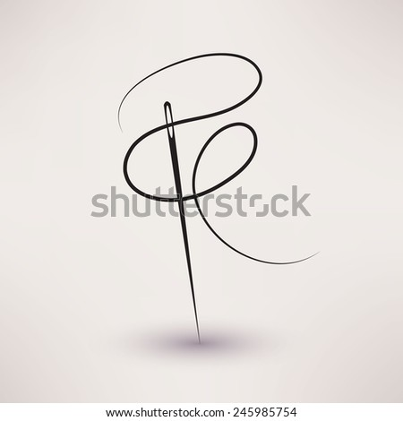 needle and thread icon vector in flat style  - stock vector