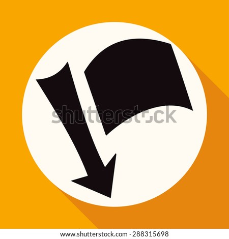 needle arrow with a flag on white circle with a long shadow - stock vector