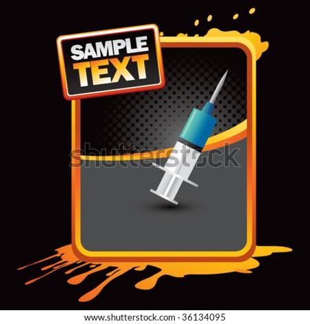 needle syringe on grungy background - stock vector