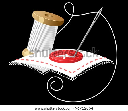 Needle with white threads as a sewing symbol. Jpeg version also available in gallery - stock vector