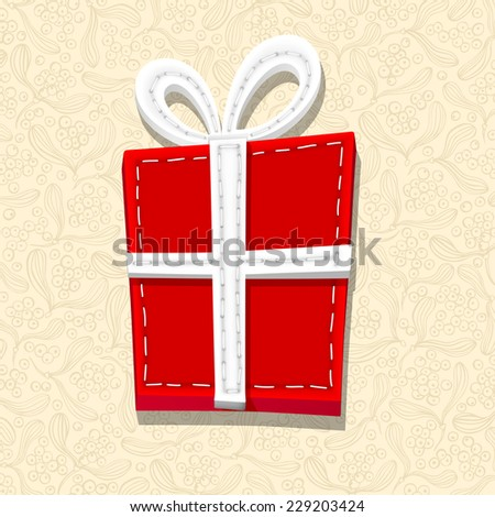 Needlecraft Christmas Present, vector eps10 illustration - stock vector