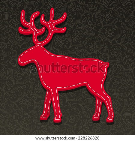 Needlecraft Reindeer, Christmas Card,  vector eps10 illustration - stock vector