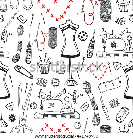 Needlework And Sewing Equipment Seamless Pattern Vector Hand Drawn Craft Supplies Print