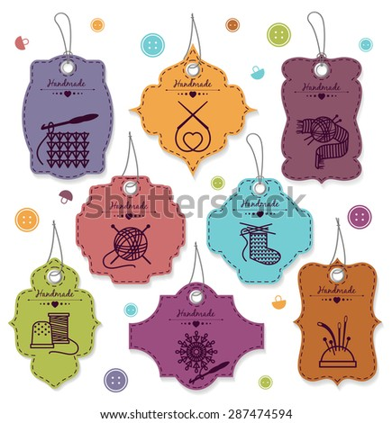 Needlework badges set. Label handmade, design tag, filament and sew, vector illustration