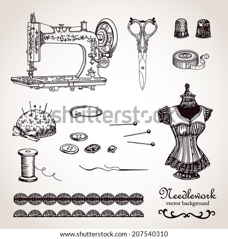 Needlework set.  Hand drawing. Illustration for greeting cards, invitations, and other printing and web projects. - stock vector
