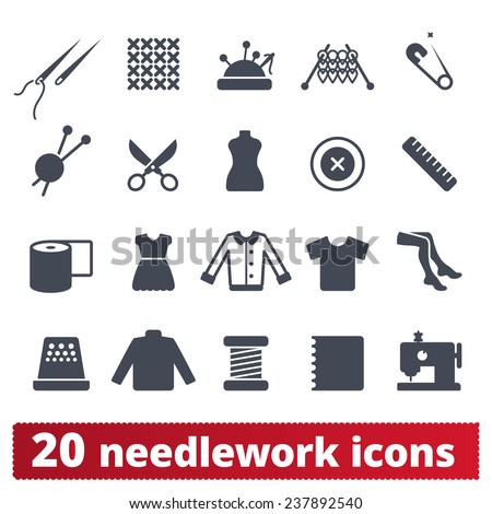 Needlework, sewing and knitting icons: vector set of haute couture, atelier and handiwork equipment and signs. - stock vector